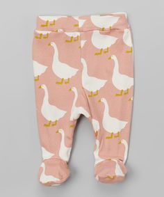 Loving this Pink & White Goose Organic Footie Pants - Infant on #zulily! #zulilyfinds