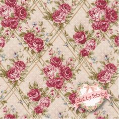 Kilala Antique Roses QKY201205-14A by QH Textiles: Kilala Antique Roses is a floral collection by QH Textiles. 100% cotton. This fabric features roses in a grid on a very light pink background.