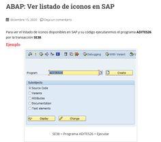 Para ver el listado de iconos disponibles en SAP y su código ejecutaremos el programa ADITES26 por la transacción SE38. Viera, Icons