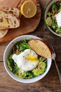 Taste and season with salt and pepper.  Portion into 2 wide bowls and top each with an egg, a pinch of