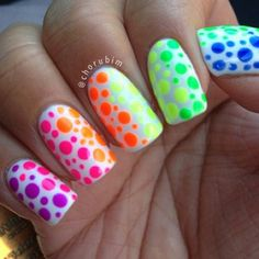 Image via Neon nails and black studs Image via Bright Neon Green Nails Image via Cute summer bright nail designs Image via bright nails Image via Bright summer man Bright Nails, Neon Nails, Diy Nails, Colorful Nails, Fancy Nails, Cute Nails, Pretty Nails, Dot Nail Art, Polka Dot Nails