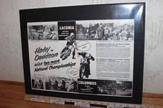 1957 Harley-Davidson / Columbus / Laconia 16 x 20 Matted Vintage Motorcycle Ad