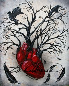 Silent heart- Original tree, heart raven crow, acrylic, spray and oil painting on canvas by LittleShopOfLostArts on Etsy