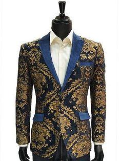 Angelino Mens Blue Gold Leaf Royalty Velvet Lapel Trending Formal Jacket Blazer