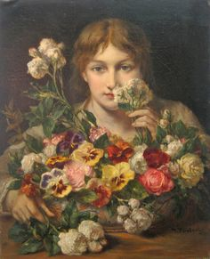 The Athenaeum - PORTAELS, Jean-François Belgian (1818-1895)_Young Woman with Flowers