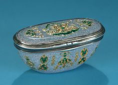 CONTINENTAL SILVER-MOUNTED ENAMEL ON COPPER SNUFF BOX  In the Manner of Julien Berthe, probably mid-18th century