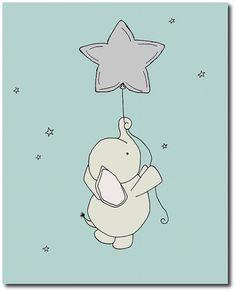 Baby Elephant Star Balloon Nursery Art Print, Pink and Grey, Kids Wall Decor, Baby Girl Elefant-Kinderzimmer-Kunstdruck-Rosa und Grau durch SweetMelodyDesigns. Elephant Nursery Art, Baby Girl Elephant, Little Elephant, Girl Nursery, Nursery Decor, Moon Nursery, Nursery Ideas, Pink Elephant, Kids Wall Decor