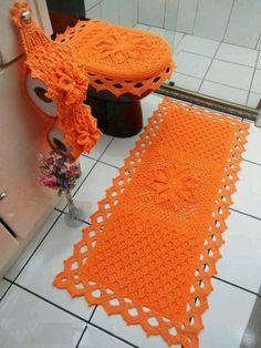 50 Novos Jogos de Banheiro em crochê para você se inspirar