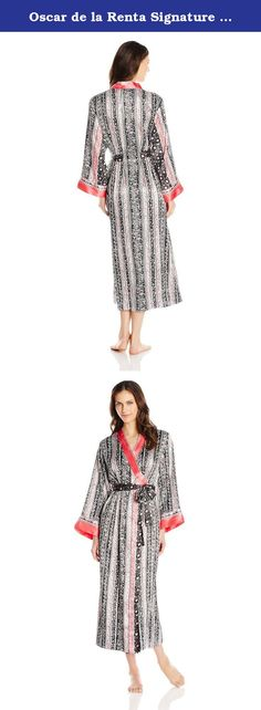 Oscar de la Renta Signature Women's Allover Printed Long Robe, Balinese Vine Print, X-Small/Small. Charmeuse printed long robe.