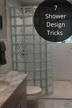 """Would you like to ditch your shower door - but don't think you have enough room for a walk in shower. Think again! Check out this 60"""" wide curved glass block shower. Click through to learn more."""