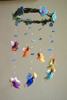 Rainbow fairies mobile - felted, waldorf inspired, wool, by Naturechild