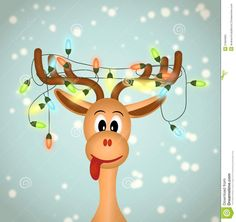 Cute Reindeer Painting | Funny reindeer with christmas lights tangled in antlers - illustration ...