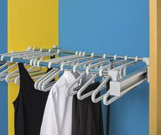 The Ambos Pull Out Hanger System provides hanging storage on a convenient pull out unit and is a practical option for managing a mix of jackets, shirts, dresses, trousers and skirts. It's can be installed under shelves and can be  combined with the Ambos pull out polycarbonate drawer system. Adjustable width from 750-1150mm, including supports. Order pull out frame and hangers separately. Hangers have a handy loop to hold belts, ties, scarves.