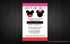 Gender Reveal Party Invitation Mickey and Minnie by Gender Reveal Party Supplies, Gender Reveal Party Invitations, Diy Party Supplies, Reveal Parties, Printable Invitations, Baby Disney, Rsvp