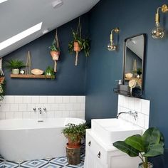 Have you ever been seduced by the name of a paint colour? I (Good Living Scotland) recently found myself standing at a Valspar Paint UK counter perusing the deep, dark blues (my plan is to paint my ba Bathroom Interior, Modern Bathroom, Small Bathroom, Master Bathroom, Beautiful Bathrooms, Loft Bathroom, Industrial Bathroom, Bad Inspiration, Bathroom Inspiration