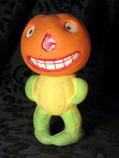 "Vintage Halloween Candy Container ~ German Halloween Composition Jack O' Lantern Head * 4.5"" tall"