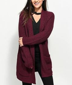 518a914228 Almost Famous Keli Back Lace Up Burgundy Cardigan