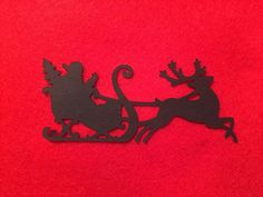 10x Santa Sleigh Reindeer Die Cut Black Card Christmas Embellishments Craft Xmas