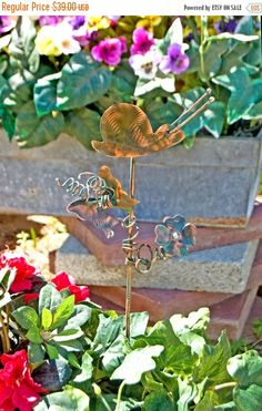 ON SALE Snail Garden Art Stake / Metal Yard Art / Metal Garden Art / Garden Copper Art / Patina / Garden Bug / Outdoor Home Decor