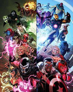 """#marvel #marvel_pics #marvelcomics #IronMan #captainamerica #scarletwitch #thor #magneto #deadpool #drdoom #nightcrawler #vision #nova #storm #beast…"""