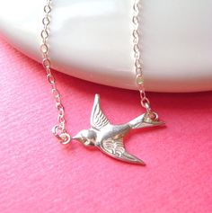 Sterling Silver Sparrow Bird Necklace, Swallow, Bridesmaid gifts, bridal jewelry, delicate, minimal