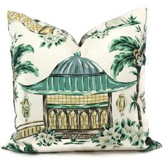Add a Pop O Green to your decor with this striking Asian scene designed by Charlotte Moss. One side has a large pagoda and the other side has a man