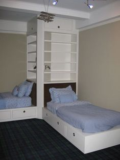 For J & C's room!Home Design and Interior Design Gallery of Kids Bedroom Teens Bedroom Great Double Bed Setting With Custom Cabinetry And Furniture Design Amazing Childrens Beds Decoration And Design Blue Bedroom, Trendy Bedroom, Girls Bedroom, Bedroom Decor, Extra Bedroom, Twin Bedroom Ideas, Blue Bedding, Modern Bedroom, Girl Bedding