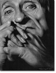 Good Listener - Photorealistic Portrait Pencil Drawings by Kirrily Duff, Australian Artist Art available for sale online