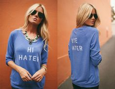 add accessory glam to a cheeky sweatshirt Vise Love Her Style, Style Me, T Shirt Time, Barefoot Blonde, Cute Fashion, Women's Fashion, Autumn Winter Fashion, Dress To Impress, At Least
