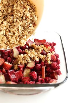 Raspberry Rhubarb Crisp #vegan and #gluten-free! (Super easy, use most any fruit, even frozen)