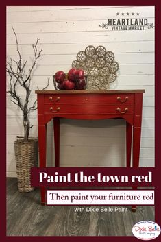 Red Is Such A Powerful Color! We Love The Boldness Of This Piece! It Is  Painted With Dixie Belle Paint In Barn Red With Hammered Copper Gilding Wax  On The ...