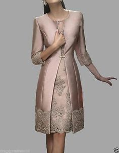 Mother Of The Bride Dress Outfits Jacket Women Formal Wedding Dress Tea Length
