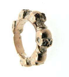 Six Skull Band Ring 18 kt Diamond Dogale jewellery Venice Italy