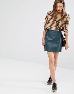 Image 1 ofNew Look Leather Look Mini Skirt