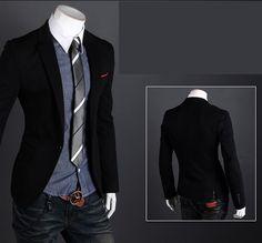 Stylish Men Suit Sexy Slim Fit One Button Casual Business Blazer Coat Jacket Black