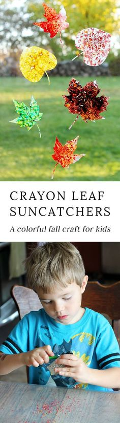 Brighten up your windows with Melted Crayon Leaf Suncatchers, a beautiful fall craft for kids! Kids Crafts, Leaf Crafts, Fall Crafts For Kids, Toddler Crafts, Projects For Kids, Art For Kids, Autumn Crafts, Autumn Activities, Craft Activities