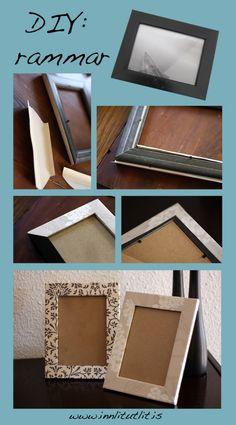 Simple DIY to give old boring frames a great makeover with wallpaper leftovers #frames #DIY #makeover #frames #wallpaper