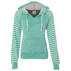 Striped Hoodie Mint ($36) ❤ liked on Polyvore featuring tops, mint top, stripe top, graphic print top, green top and striped top