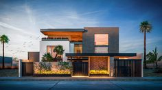 Modern Exterior House Designs, Dream House Exterior, Modern House Design, Exterior Design, Modern Bungalow House, Modern House Plans, House Front Wall Design, Contemporary Building, 3d Home