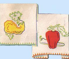 1930s VTG Joseph Walker Embroidery Transfer 704 Applique Veggie Tea Towels Uncut