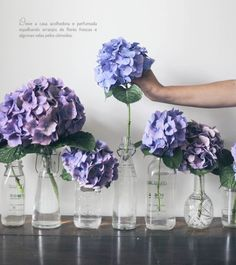 different vases & hydrangeas/hortensias My Flower, Fresh Flowers, Beautiful Flowers, Spring Flowers, Deco Floral, Planting Flowers, Flowers Garden, Floral Arrangements, Flower Arrangement