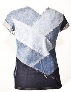 nice Recycled denim shirt# DIY# +++BLUSA DE TELA TEJANA DE PANTALONES VAQUEROS JEANS ...