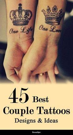 45 World's Best Couple Tattoos Ideas for All Lovely Couples paar Tätowierungen Married Couple Tattoos, Couple Tattoos Love, Tatto Love, Love Tattoos, Sexy Tattoos, Couple Tattoo Ideas, Tattooed Couples, Tatoos, Hand Tattoos