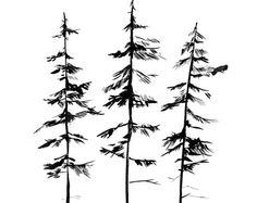 Shop for pine tattoo on Etsy, the place to express your creativity through the buying and selling of handmade and vintage goods. Tree Branch Tattoo, Tree Tattoo Men, Tree Tattoo Designs, Tree Designs, Tattoo Ideas, Simple Tree Tattoo, Tree Drawing Simple, Pine Tattoo, Pine Tree Silhouette
