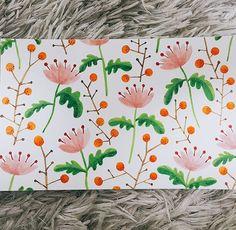 #flora #botanical #botanic #botanicalart #pattern #illustration #illust #watercolor #pink #orange #olivegreen #fun #art #artwork #artstagram #그림스타그램 #그림그리기 #보타니컬아트 #수채화 #일상 #daily