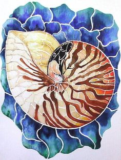 """watercolor paintings of shells   -style Watercolor Painting (Bokusaiga) """"Bokusaiga"""" refers to painting ..."""