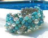 White Pearl with Turquoise Beaded Bracelet, Soft Knit Cuff Style, Destination. Wedding, Bridesmaid, Semi Precious, Hand Knit, Sereba designs