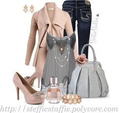 """Pink & Gray"" by steffiestaffie on Polyvore"