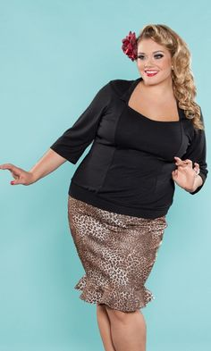 The Ginger Knit Top in Black and Jean Skirt in Leopard Print from the SWAK Designs Curvy Kitten Collection! Out of stock for now...