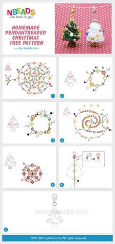 homemade pendant-beaded christmas tree pattern by kristin. Beading Projects, Beading Tutorials, Beading Patterns, Beaded Christmas Decorations, Beaded Ornaments, Christmas Tree Pattern, Beaded Crafts, Tree Patterns, Christmas Jewelry